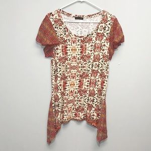 3/$24 FYLO | Printed Short Sleeve Tunic Medium
